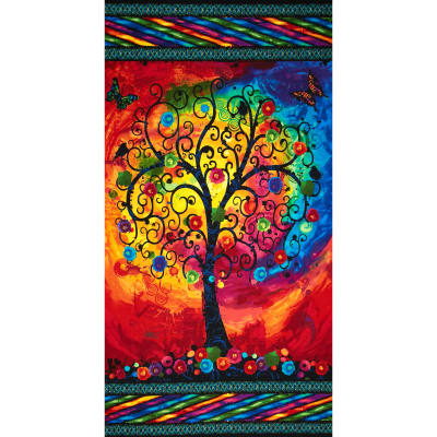 "Timeless Treasures Fantasia Trees Panel 24"" Multi"