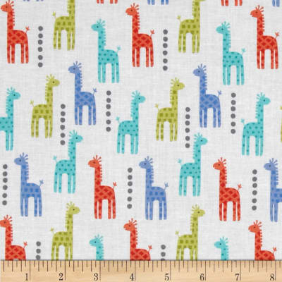 Michael Miller Zoo Littles Boy Things Mini Giraffes Blue