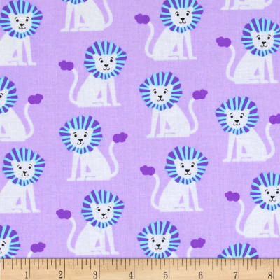 Michael Miller Zoo Littles Girls Things Mini Lions Lilac