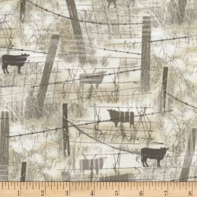 Timeless Treasures Judy Niemeyer's Reclaimed West Barbed Wire w/ Cows Beige
