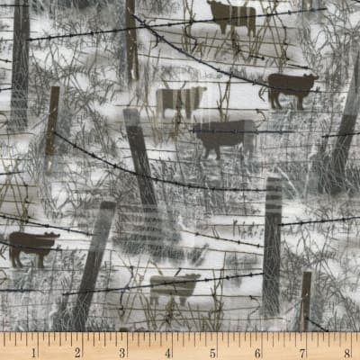 Timeless Treasures Judy Niemeyer's Reclaimed West Barbed Wire w/ Cows Fog