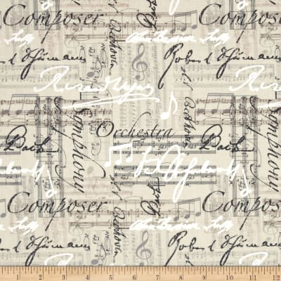 Timeless Treasures Music Words Linen