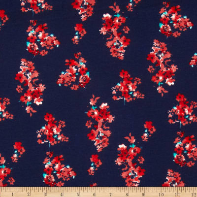 Stretch Ponte de Roma Knit Florals Navy/Brick Red