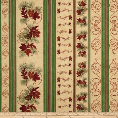 Moda Turning Leaves Decorative Stripe Off White