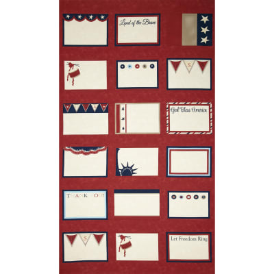 "Moda Red, White & Free Labels 24"" Panel Red"