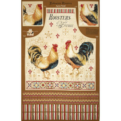 "Bohemian Roosters Apron 24"" Panel Multi"