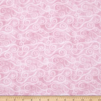 """108"""" Wide Quilt Back Flannel Swirly Scroll Pink"""