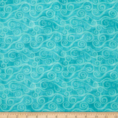 """108"""" Wide Quilt Back Flannel Swirly Scroll Teal"""