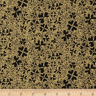 Irish Charm Metallic Packed Shamrock Black/Gold