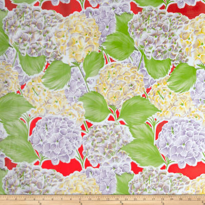 Oilcloth Lille Hydrangea Red