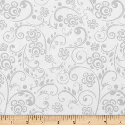 Get Back! 108'' Wide Floral Swirl Gray/White