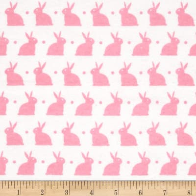 Dreamland Flannel Bedtime Bunny White/Pink Carnation