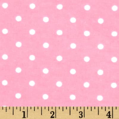 Dreamland Flannel Swiss Dots Pink Carnation