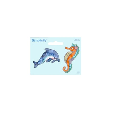 Simplicity Iron On Appliques 2/Pkg Dolphin & Seahorse
