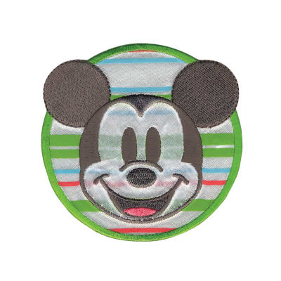Disney Mickey Mouse Iron On Applique Mickey W/Stripes