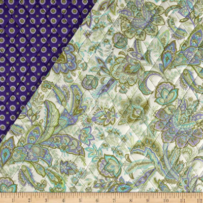Briarcliff Double Sided Quilted Paisley Floral Cream