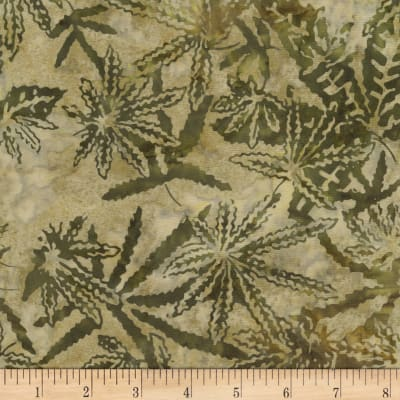 Timeless Treasures Tonga Batik Cannabis Leaf Safari