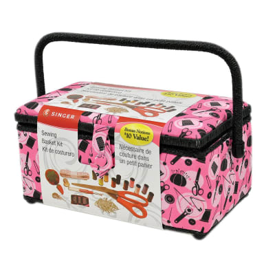 Singer Sewing Basket Pink Notions