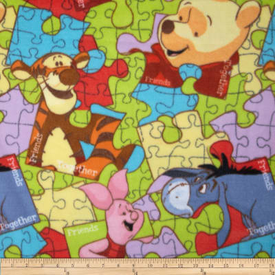 Disney Pooh Everyday Fleece Pooh Puzzle Toss Multi