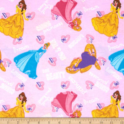 Disney Princess I am a Princess Flannel Kind and True Word Toss Pink