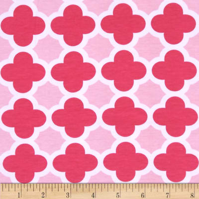 Riley Blake Stretch Cotton Jersey Knit Quatrefoil Hot Pink/Baby Pink