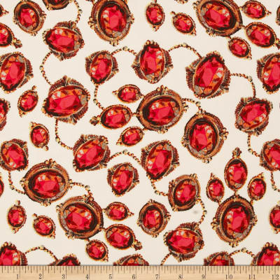 Crepe Georgette Gems Red/White