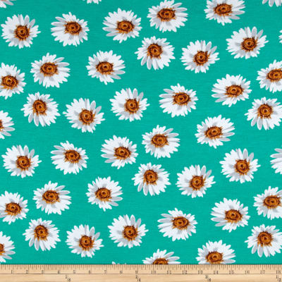 Stretch Rayon Jersey Knit Daisies Green/White