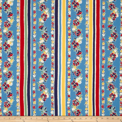 Moda Fresh Air Pansy Stripe Blue