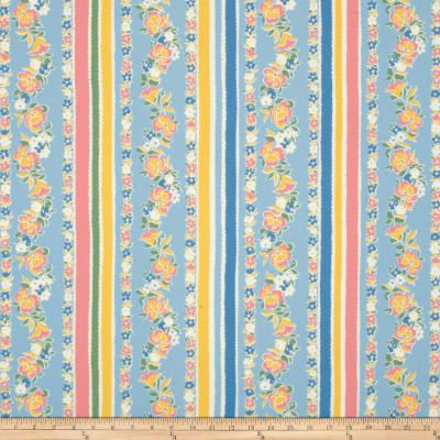 Moda Fresh Air Pansy Stripe Light Blue