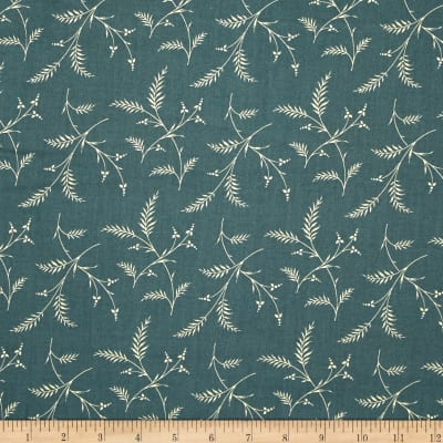 Moda Lilies of the Field Ferns Washed Denim