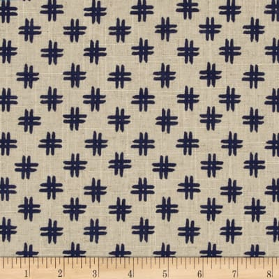 Nancy Gere Low Country Indigo Linen Crosshatch Linen