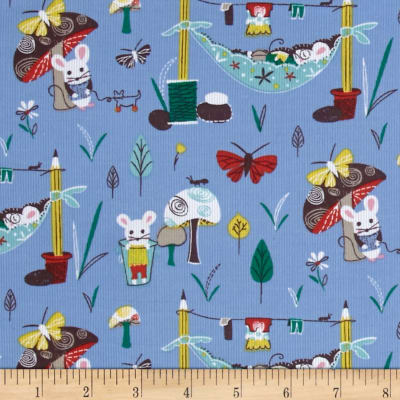 Mouse Camp Corduroy Mice & Mushrooms Blue