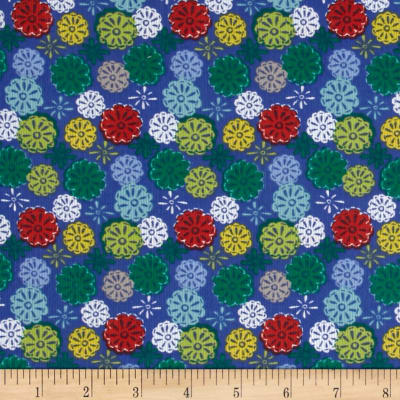 Mouse Camp Corduroy Flowers Blue