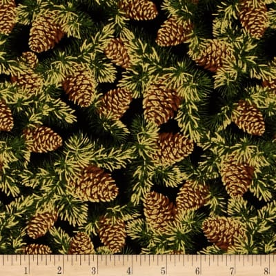 Christmas Tidings Metallic Pine Cones Black
