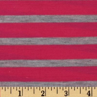 Yarn-Dyed Jersey Stripe Knit Hot Pink/Grey