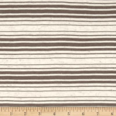 Sheer Yarn-Dyed Striped Jersey Knit Dark Taupe