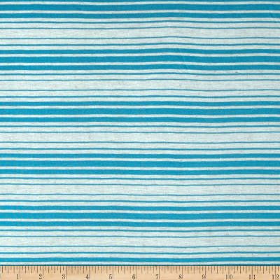 Sheer Yarn-Dyed Striped Jersey Knit Blue