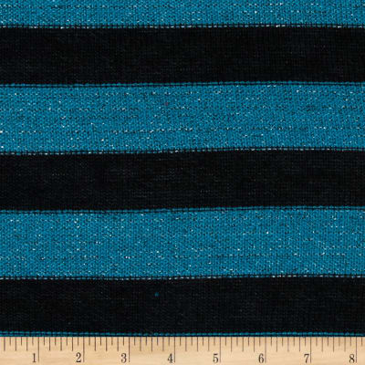 Stretch Sparkle Sweater Knit Stripe Teal/Black