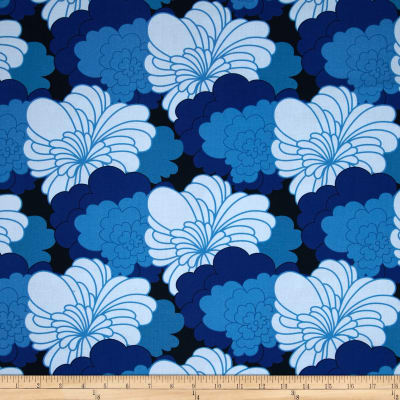 Auntie's Attic Large Compact Floral Canvas Blue
