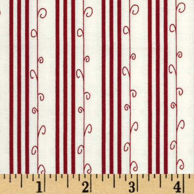 Moda Mistletoe Lane Stripe Whisper White/ Crimson