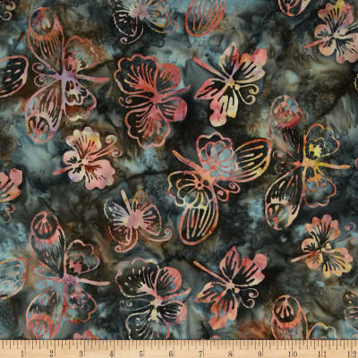 Bali Batik Handpaints Butterflies Charcoal