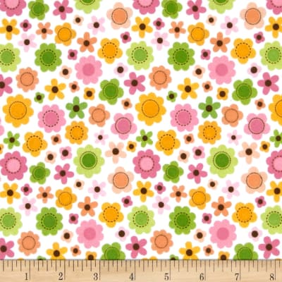 Riley Blake Sweet Baby Girl Flannel Sweet Flowers White