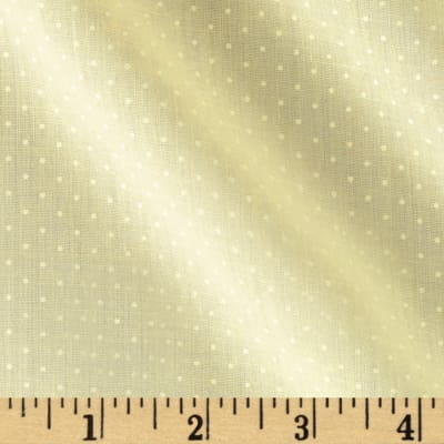 Cotton Poly Pin Dots Pale Yellow/White