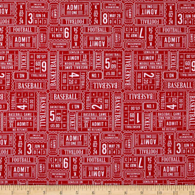 Riley Blake Play Ball Ticket Red