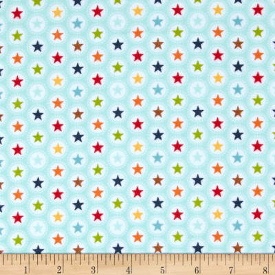 Riley Blake Play Ball Flannel Star Aqua