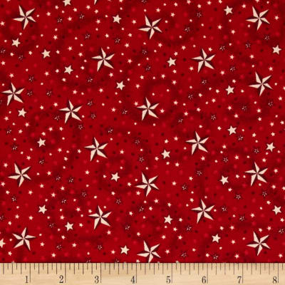 American Dreams 108 In. Wide Quilt Back Stars w/ Swirl Red