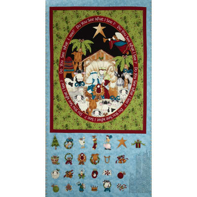 Do You See What I See Advent Calendar Panel 24 In. Blue