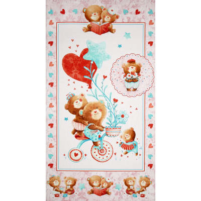 Puffy Teddy 24 In. Panel Pink