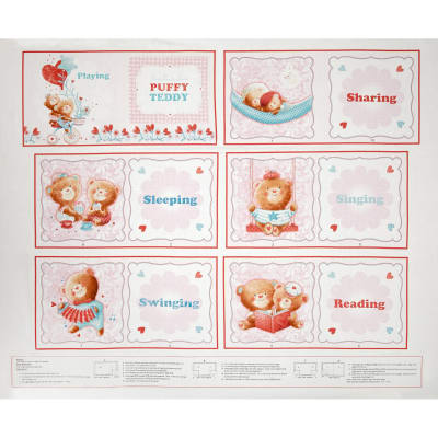 Puffy Teddy 24 In. Soft Book Panel Pink