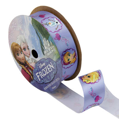 "7/8"" Frozen Ribbon Characters Purple 3YD Spool"